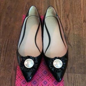 Tory Burch patent leather flats with pearl detail